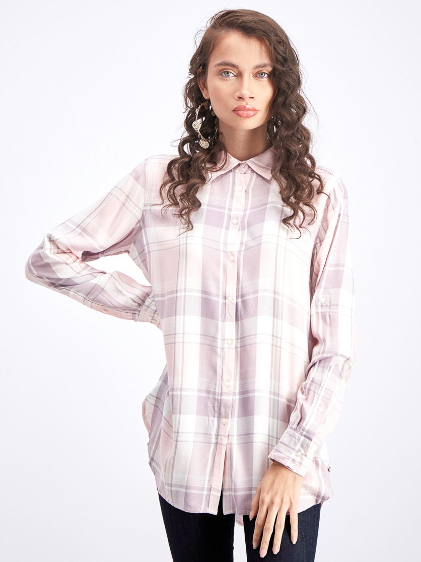 Women's Classic Plaid Shirt, Pink/Vanilla