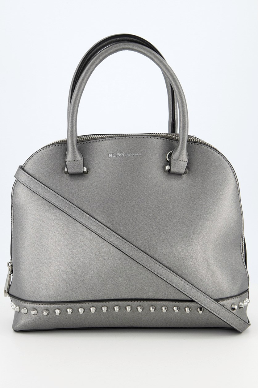 Women's Poppy Studded Dome Bag, Pewter
