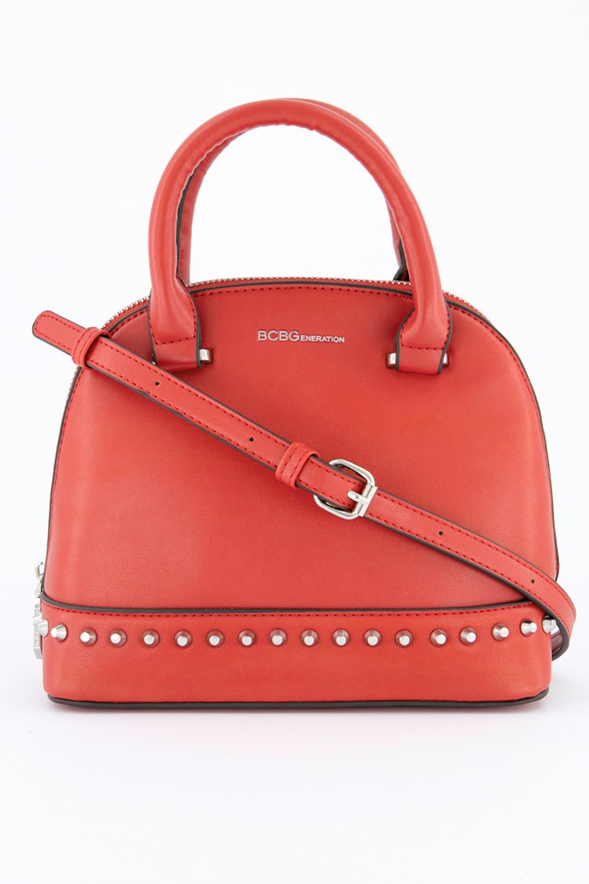 Poppy Studded Mini Dome Bag, Red