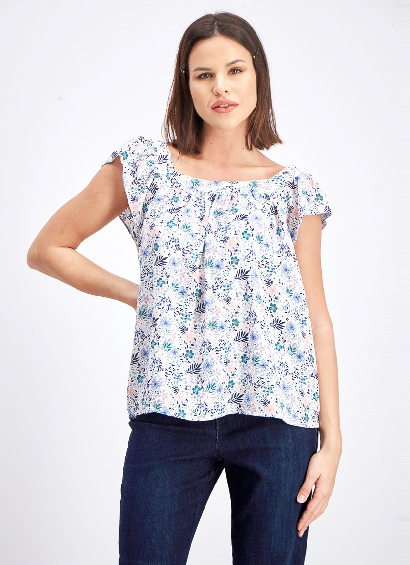 Women's Floral Print Blouse, Blue/Pink/White