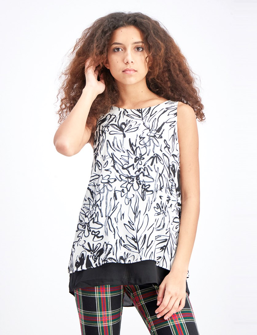 Women's Overlay Blouse, Black/White