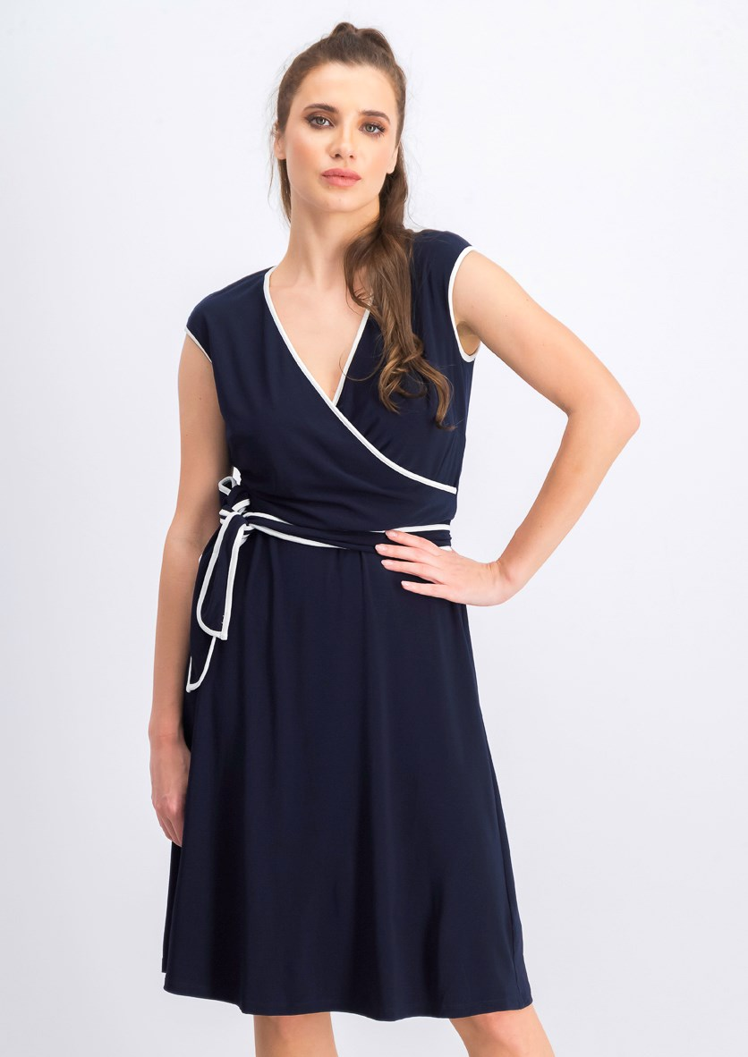 Women's Two-Tone Fit & Flare Dress, Navy