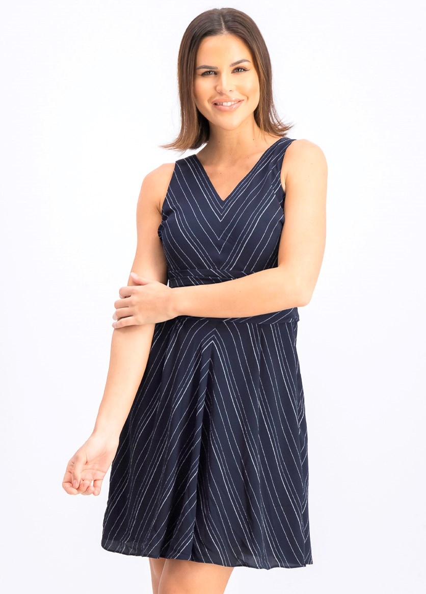 Women's Striped Fit & Flare Dress, Navy
