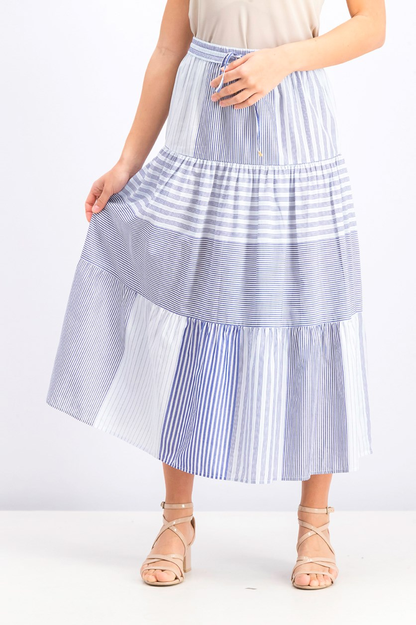Women's Drawstring Striped Maxi Skirt, Blue/White
