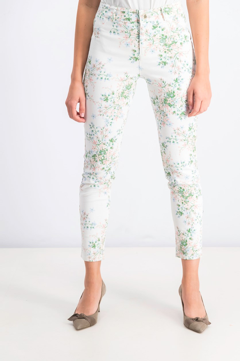 Women's Floral-Print Polished Mid-Rise Pants, White Combo