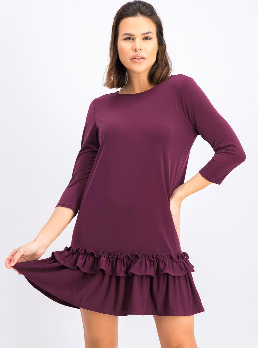 Women's Ruffle Hem Shift Dress, Purple