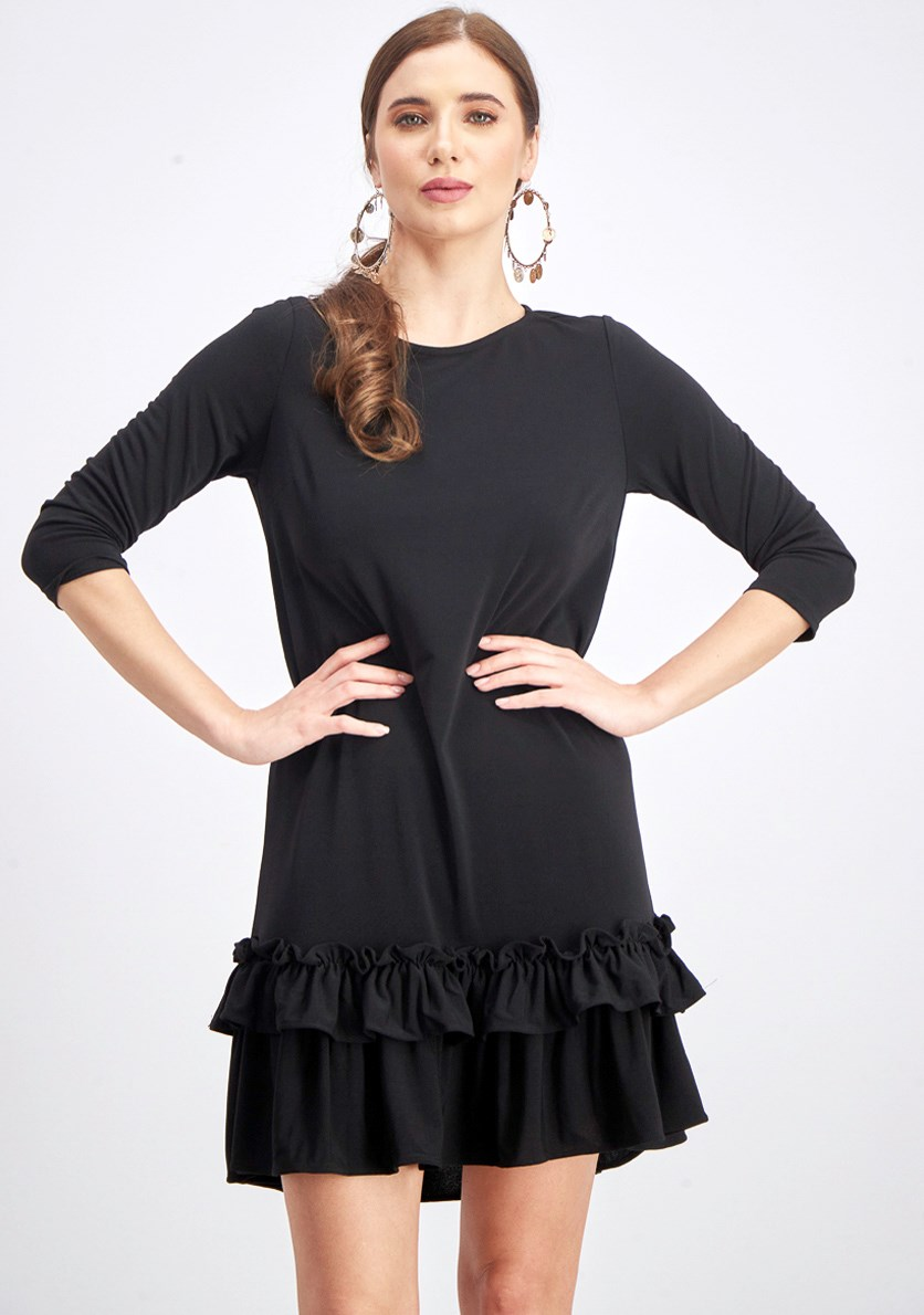 Women's Ruffle Hem Shift Dress, Black