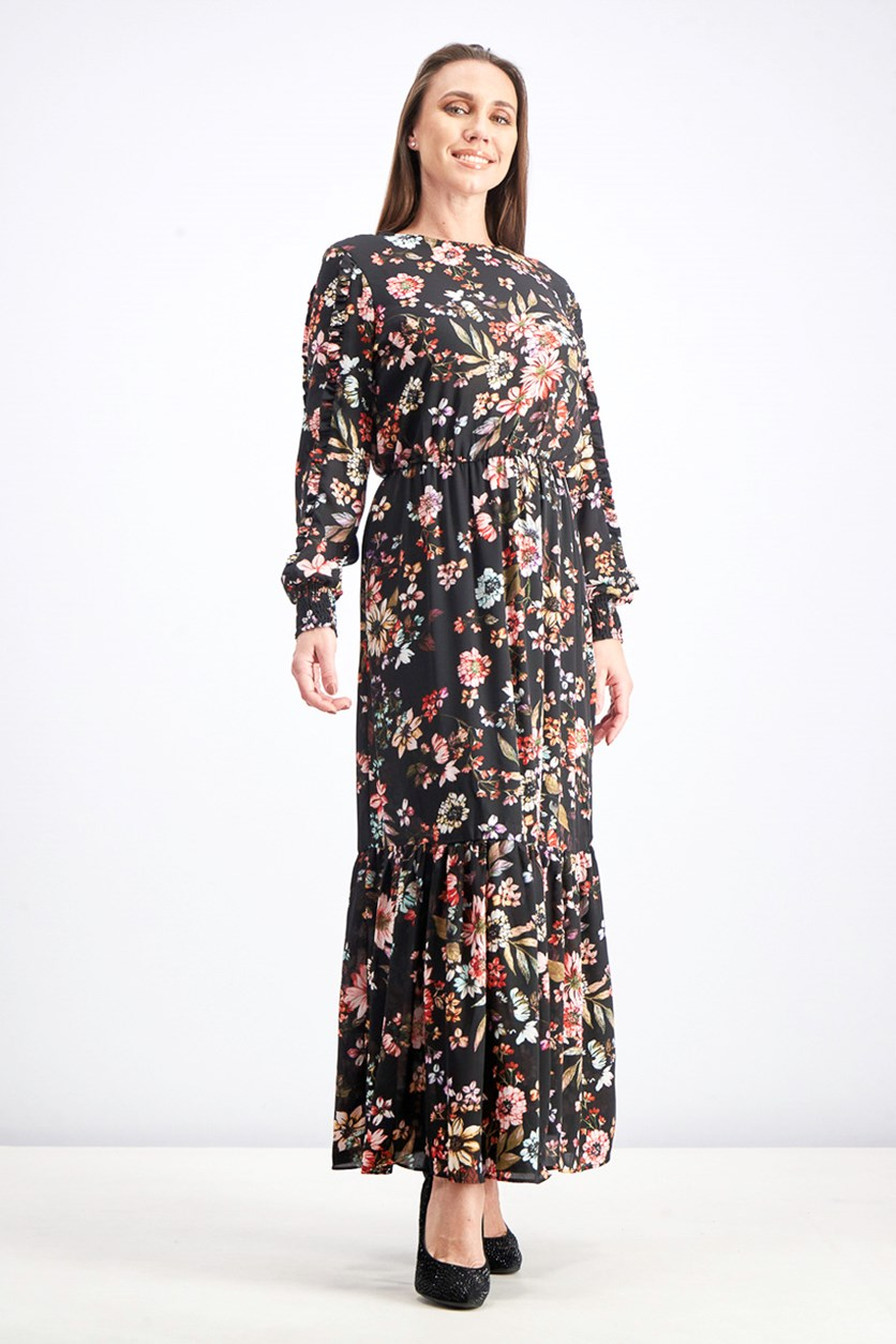 Women's Floral-Print Maxi Dress, Black Combo
