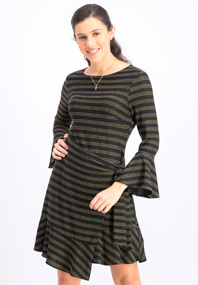 Women's Stripe Wrap Dress, Black/Gold