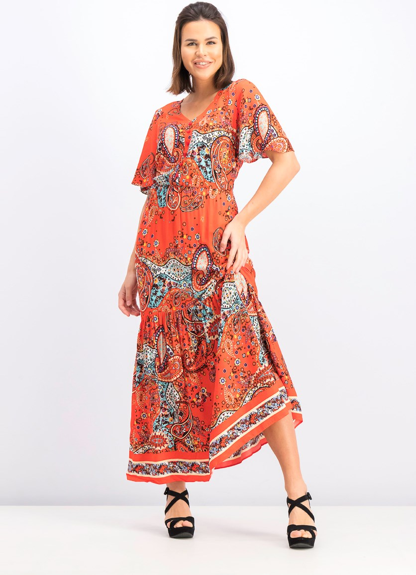 Women's Printed Maxi Dress, Red Orange Combo
