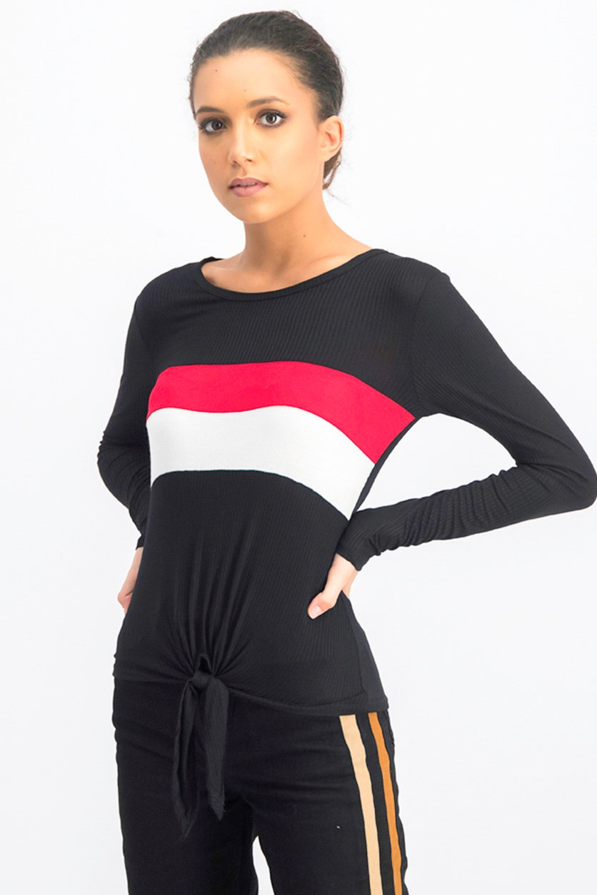Juniors' Striped Tie-Front Top, Black Combo