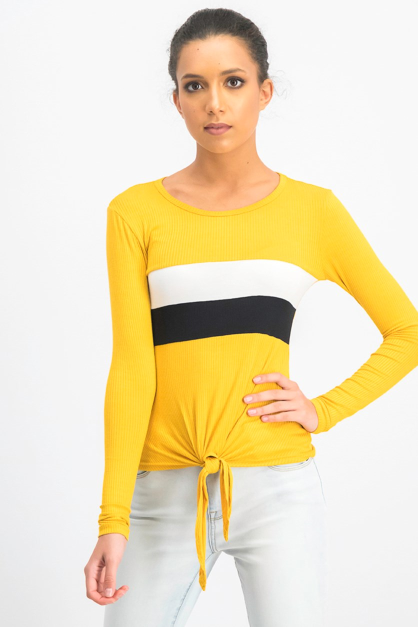 Juniors' Striped Tie-Front Top, Mustard Combo