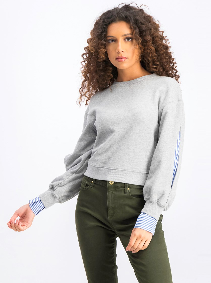 Women's 10 Crosby Layered-Look Sweatshirt, Grey