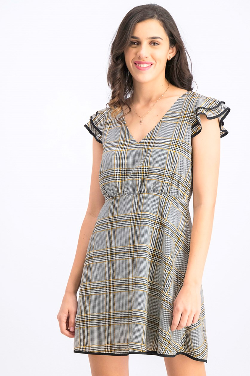 Women's V Neck Above The Knee Fit Dress, Grey/Yellow