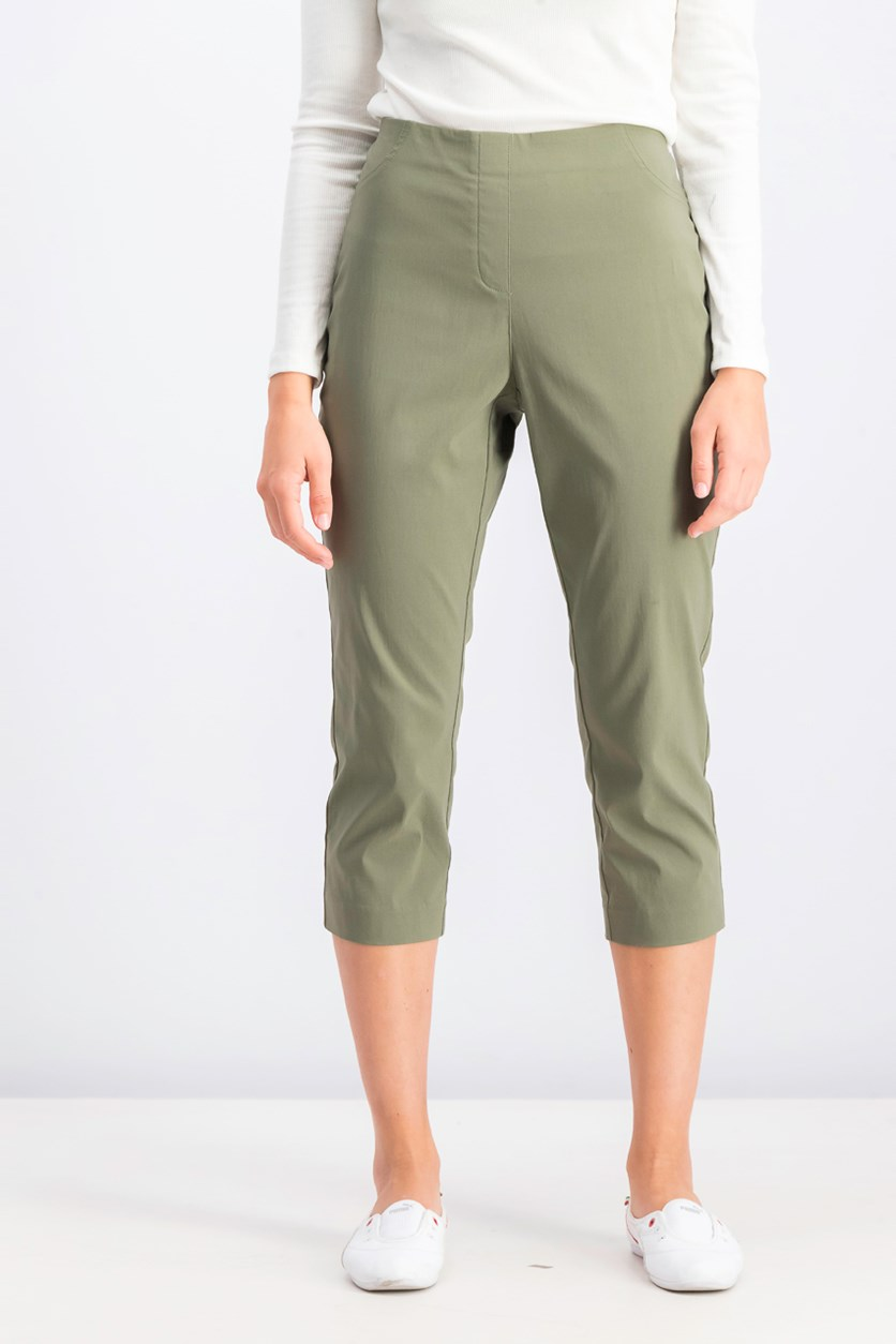 Pull-On Capri Pants, Olive Spring