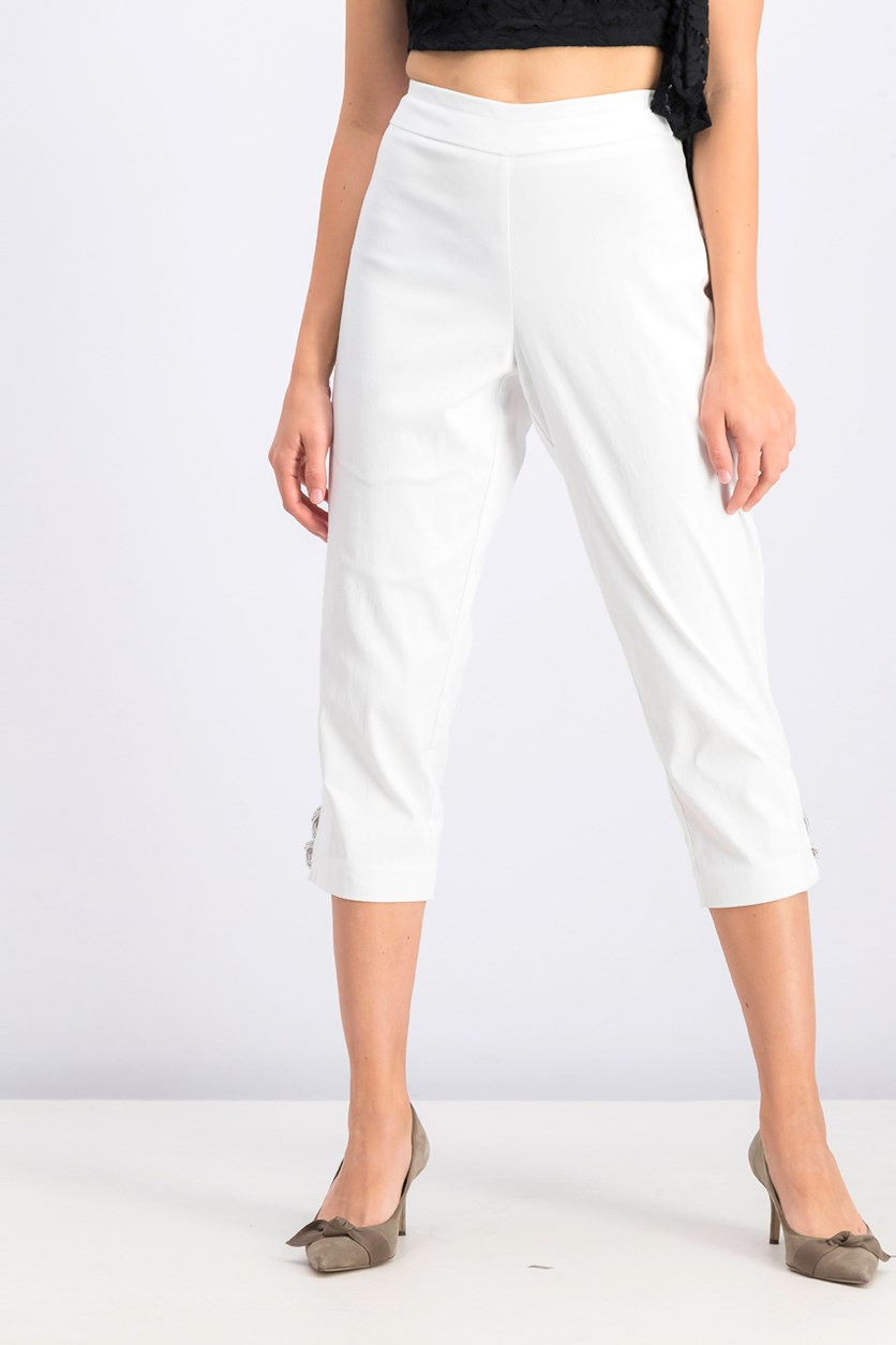 Women's Embellished Capri Pants, White
