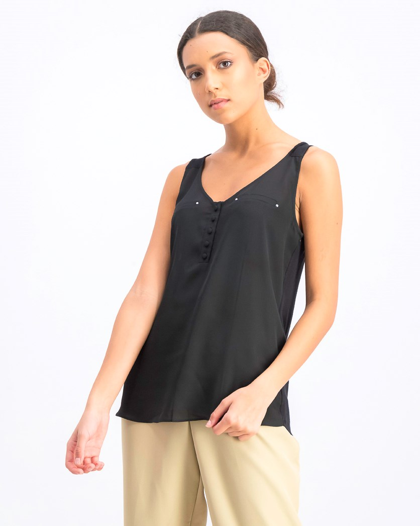 Women's Juniors' V-Neck Sleeveless Top, Black