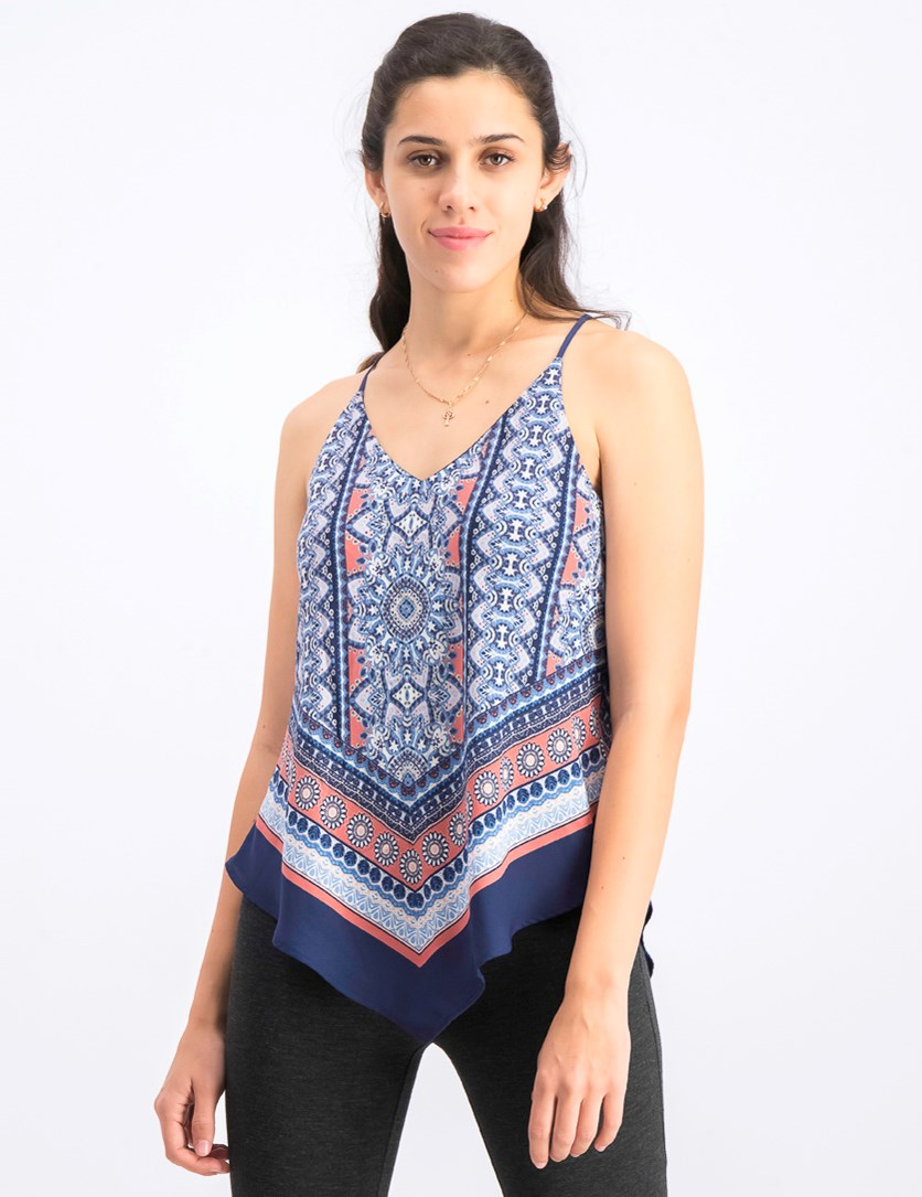 Womens Junior's Sleeveless Blouse, Navy Blue Combo