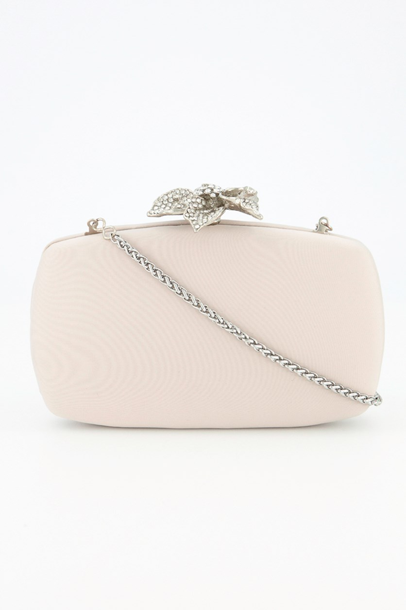 Vida Floral Stone Bead Clutch, Oyster White