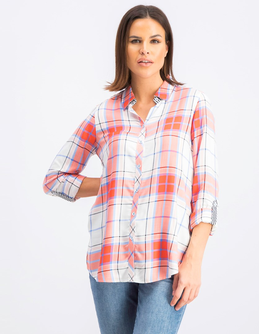 Women's Long Sleeve Checkered Tops, Red/Orange/Blue