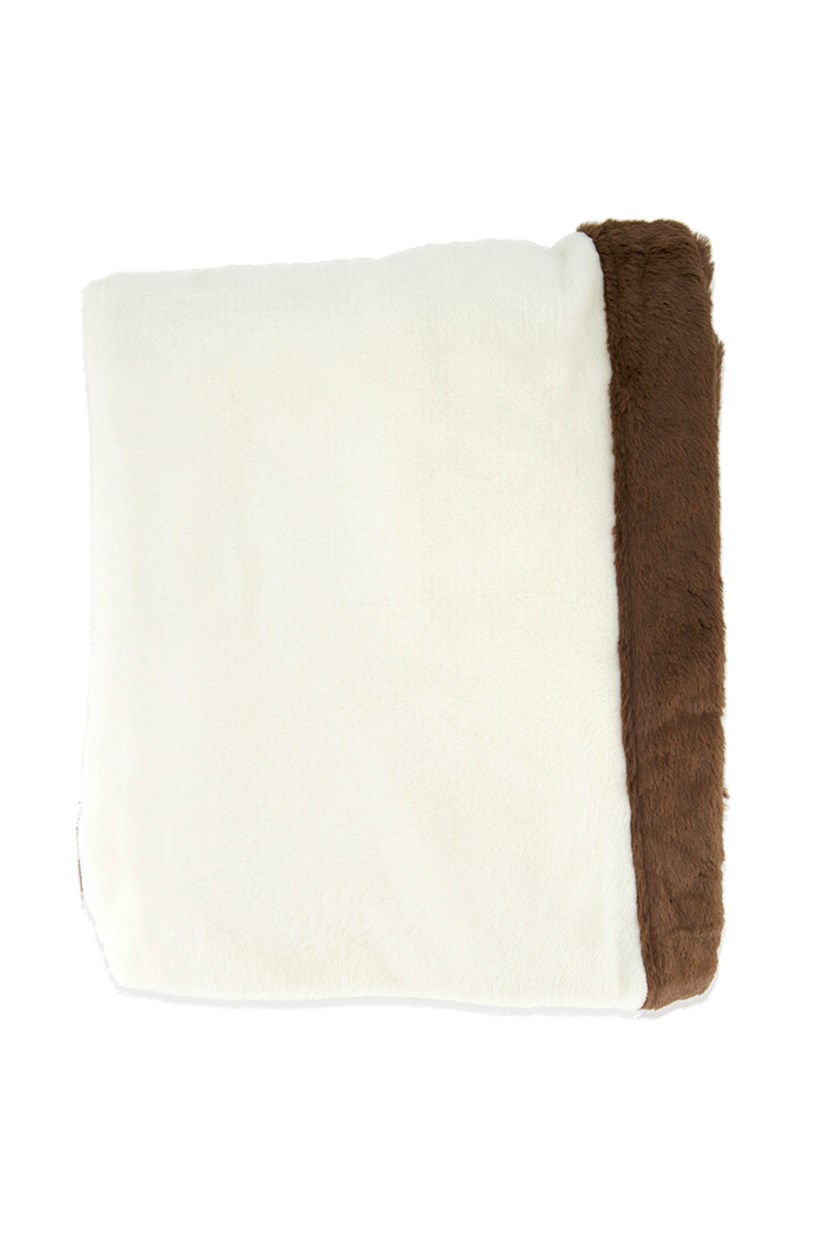 Incredibly Soft Throw, Ivory/Brown
