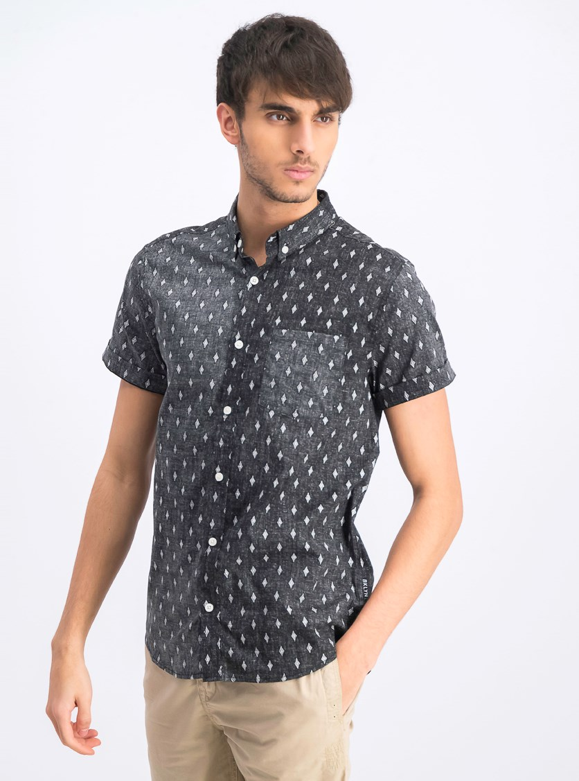 Men's Diamond Printed Shirt, Black Combo