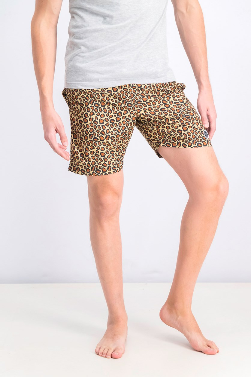 Men's Leopard Print Swim Trunks, Brown Combo