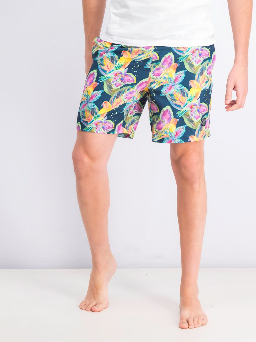 Men's Tropical Parrot Volley Short, Navy Combo