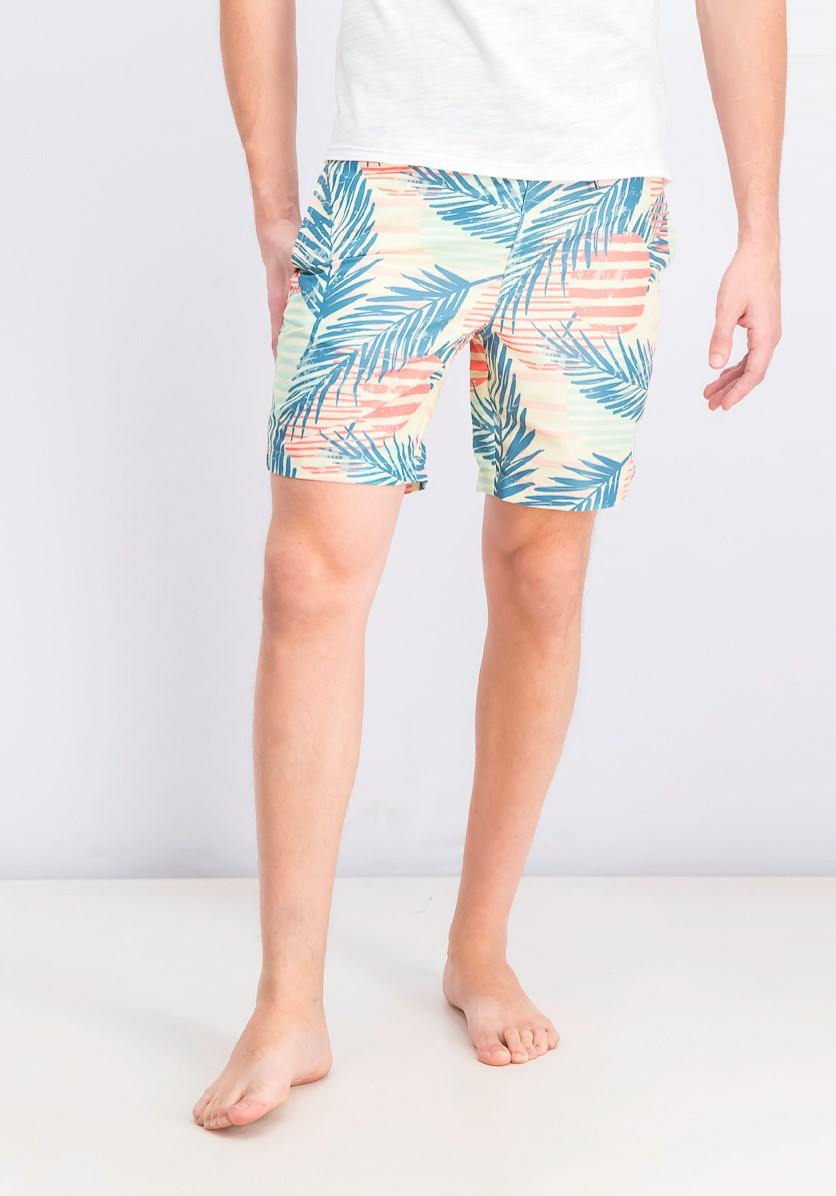 Men's Printed Swim Trunks, Yellow Combo