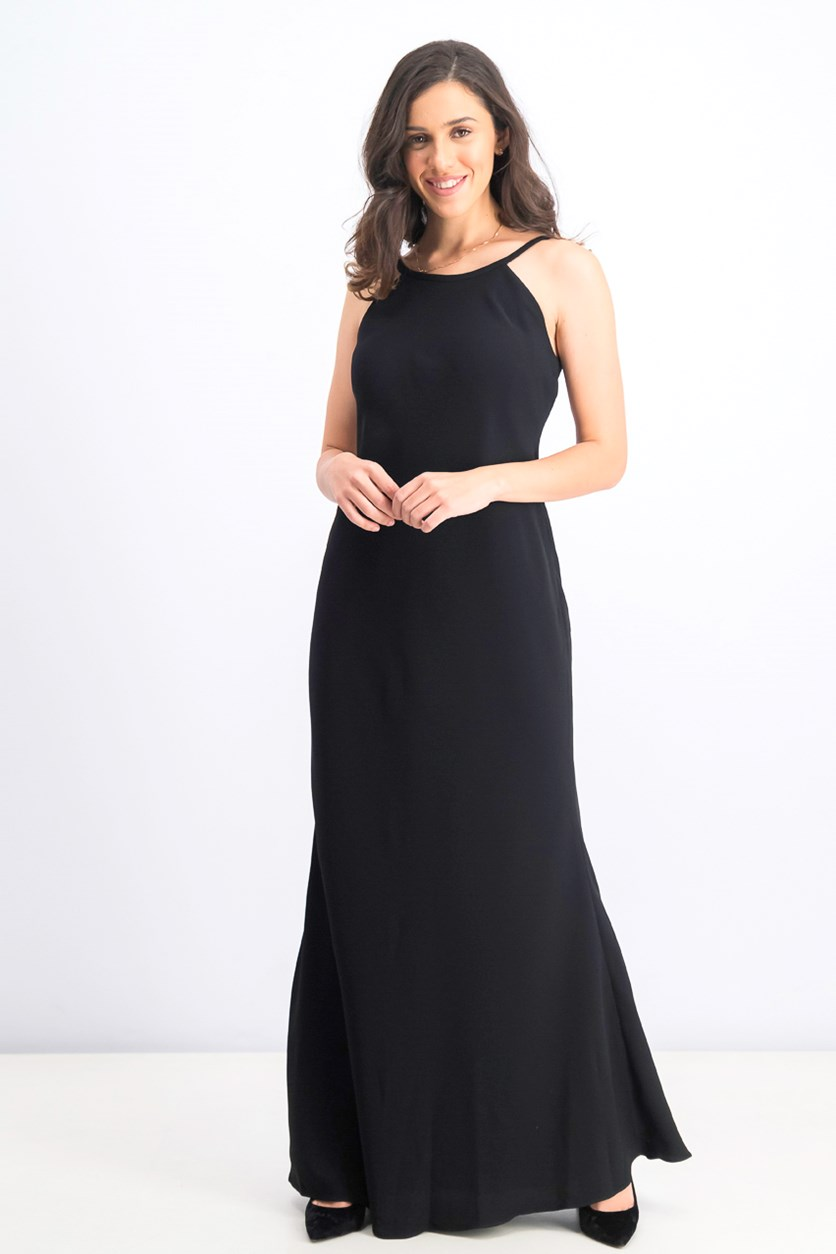 Open-Back Halter Gown, Black