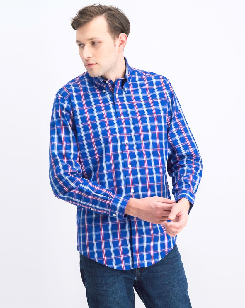 Men's Plaid Long Sleeve Casual Shirt, Blue/Red