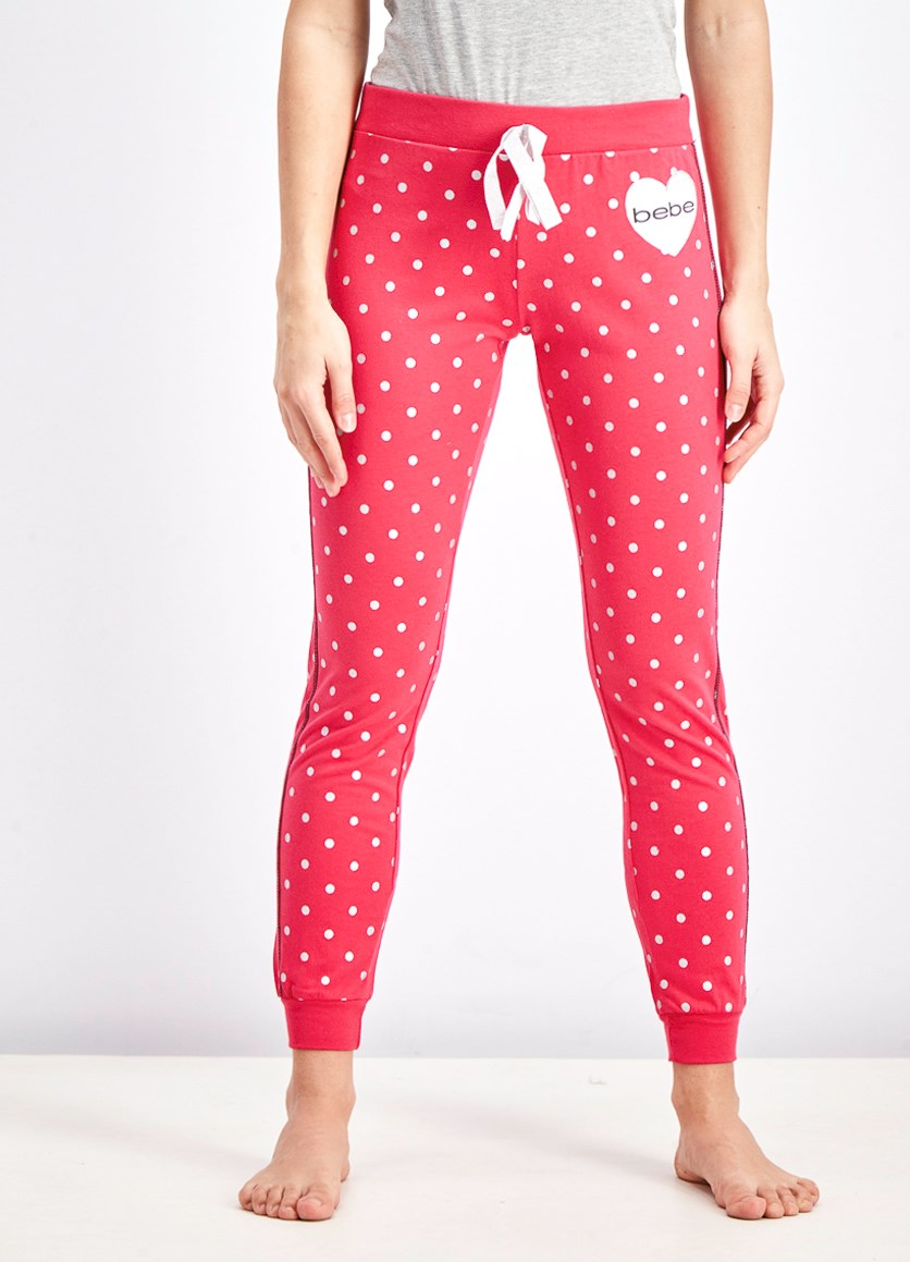 Women's Polka Dots Print Pajama Pants, Red/Silver