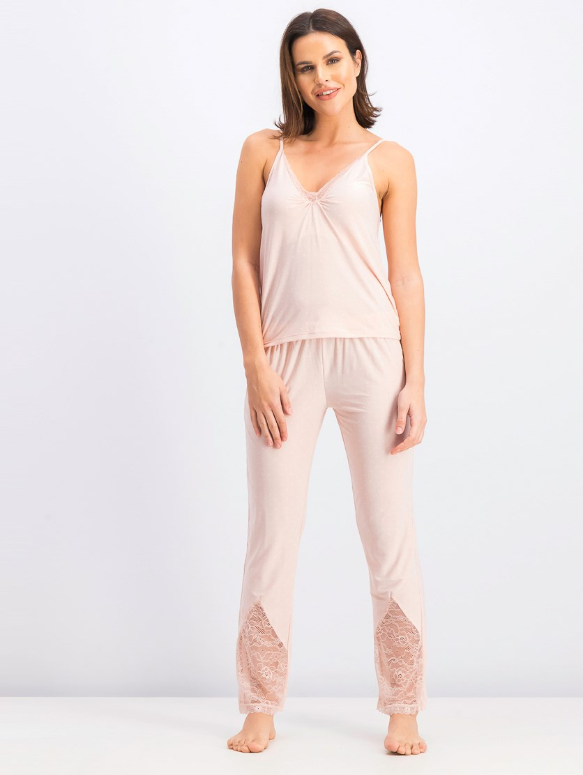 Women's Tops And Bottom Pajama Set, Peach
