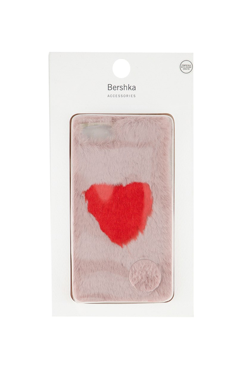 Fluffy Iphone Case With Heart Detail, Blush/Red