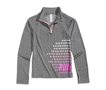 Girl's Quarter-Zip Run Active Jacket, Gray