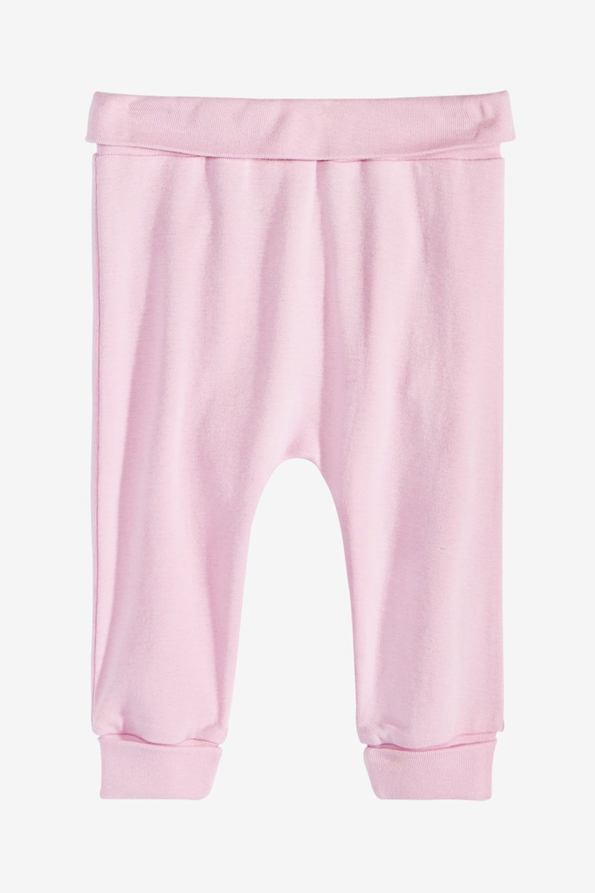 Baby Girls Cotton Jogger Pants, Pink Slipper
