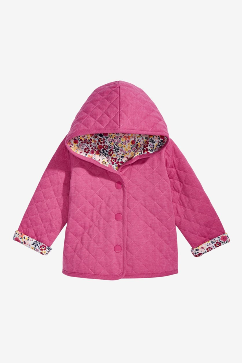 Baby Girls Ditzy Floral Quilted Reversible Cotton Jacket, Angel White