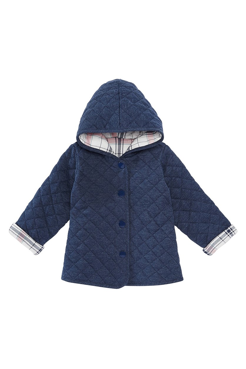 Baby Girls Quilted Plaid Reversible Jacket, Angel White/Navy