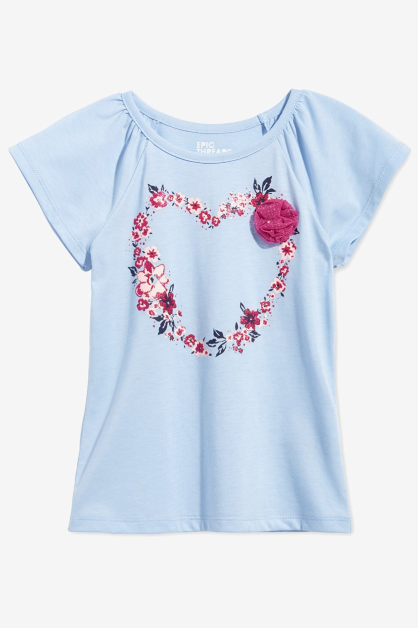 Toddler Girls Graphic Print T-shirt, Cashmere Blue