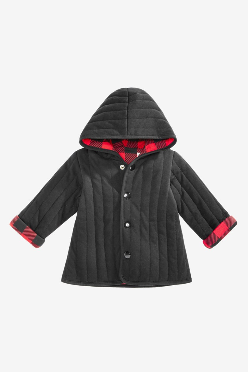 Baby Boys Buffalo Plaid Reversible Cotton Jacket, Infra Red
