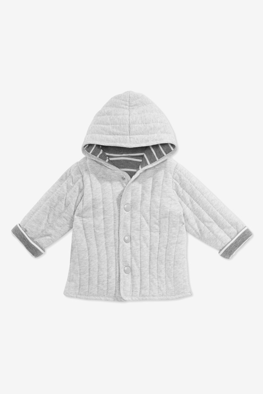 Baby Boys Reversible Cotton Jacket, Pewter Gray