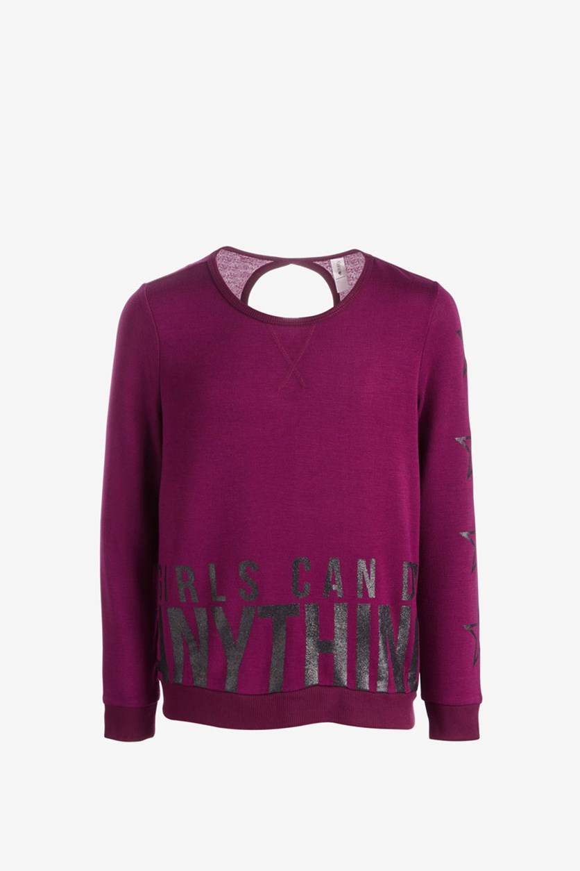 Big Girls Anything-Print Sweatshirt, Maroon