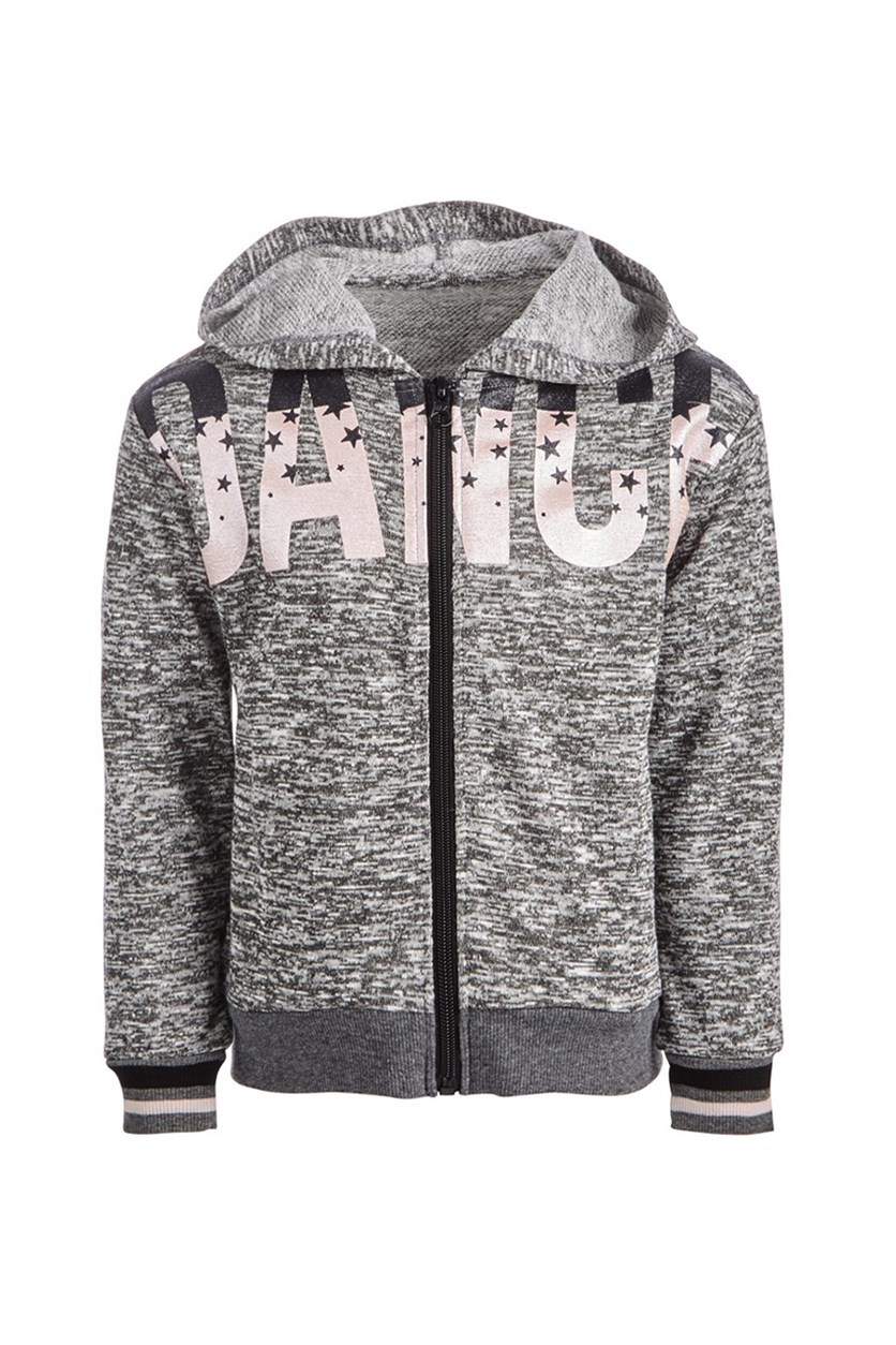 Kids Girls Dance-Print Zip-Up Hoodie, Light Heather Grey/Peach