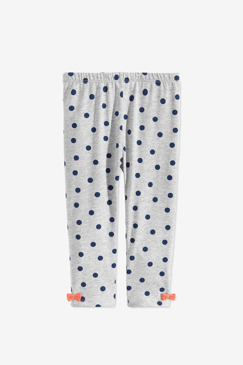 Baby Girls Dot-Print Bow Leggings, Stormy Grey Heather