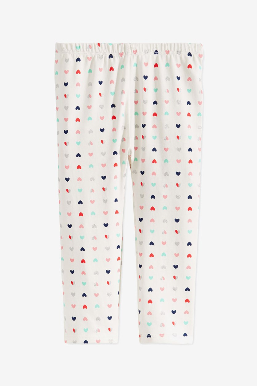 Baby Girls Hearts-Print Leggings, Angel White