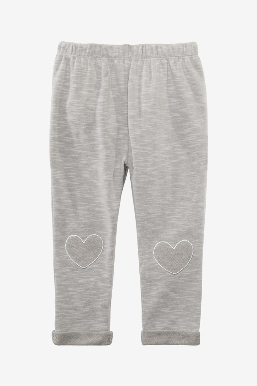 Baby Girls Heart-Patch Jogger Pants, Pewter Heather