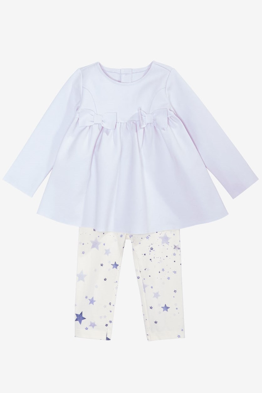 Baby Girls 2-Pc. Bow Tunic & Star-Print Leggings Set, Creamy Lavender