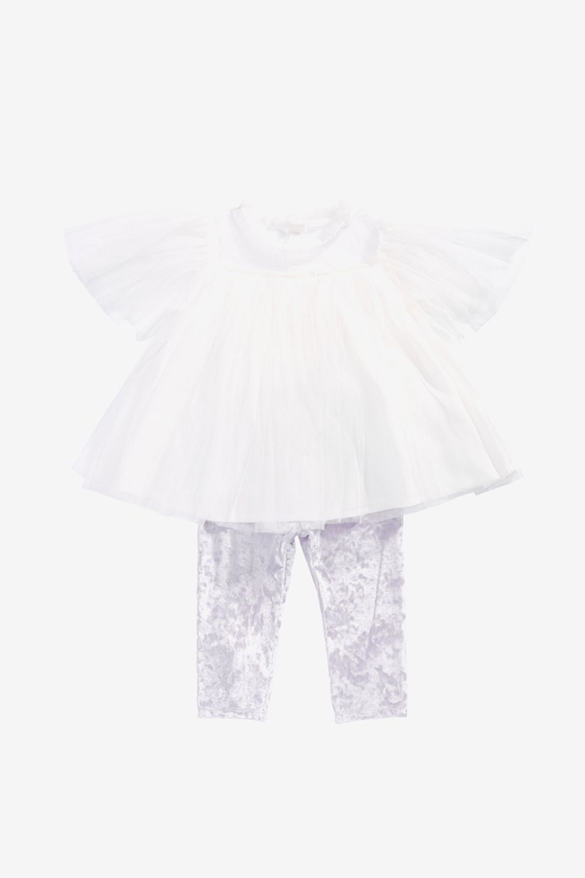 Baby Girl's 2-Pc. Tulle Tunic & Velvet Leggings Set, Angel White