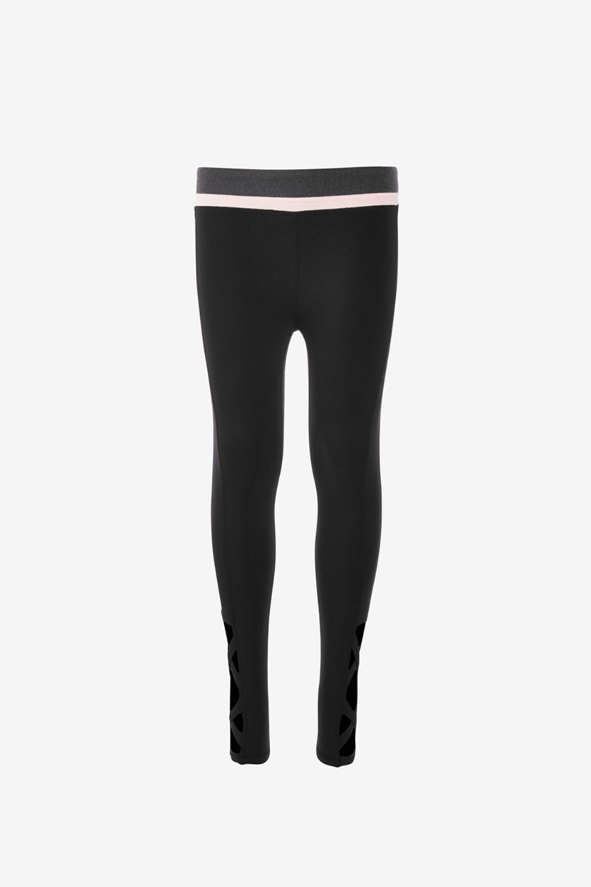 Big Girls Solid Legging with Side Cage Detail, Black/Pink