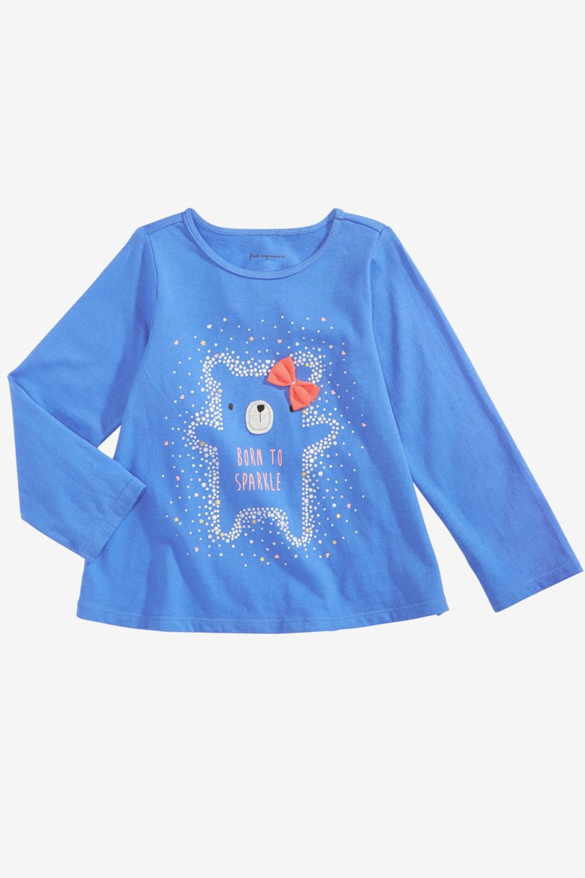 Baby Girl's Sparkle-Print T-Shirt, Blue Combo